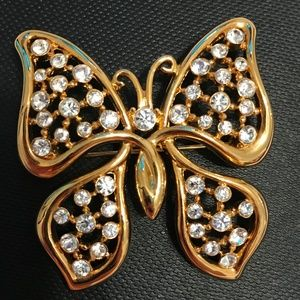 Vintage Monet Gold Butterfly Brooch